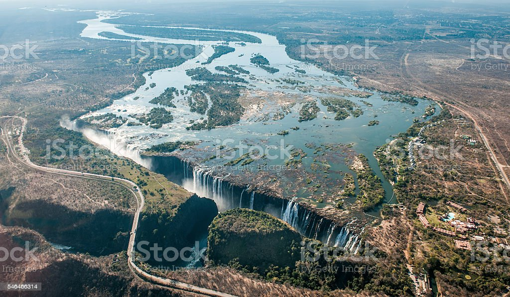 Victoria falls on helicopter. stock photo