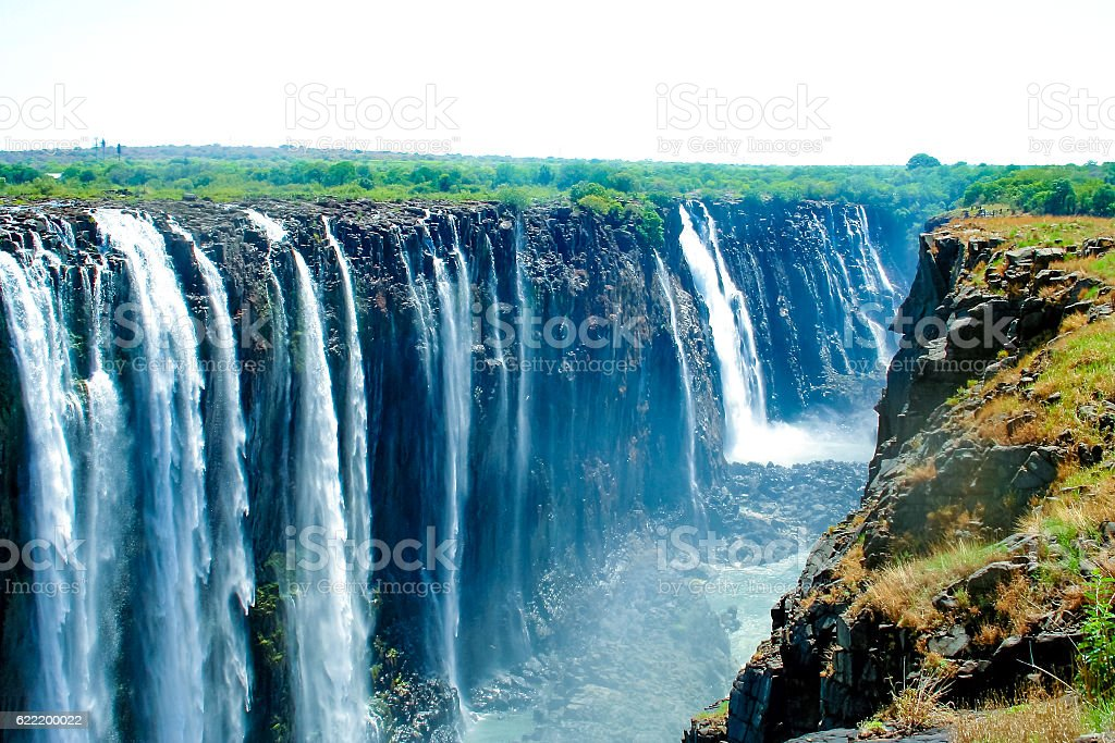 Victoria falls, on the border of Zambia and Zimbabwe stock photo