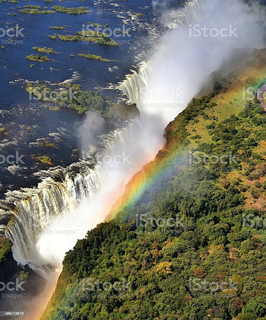 Victoria Falls seen from above, Zimbabwe stock photo