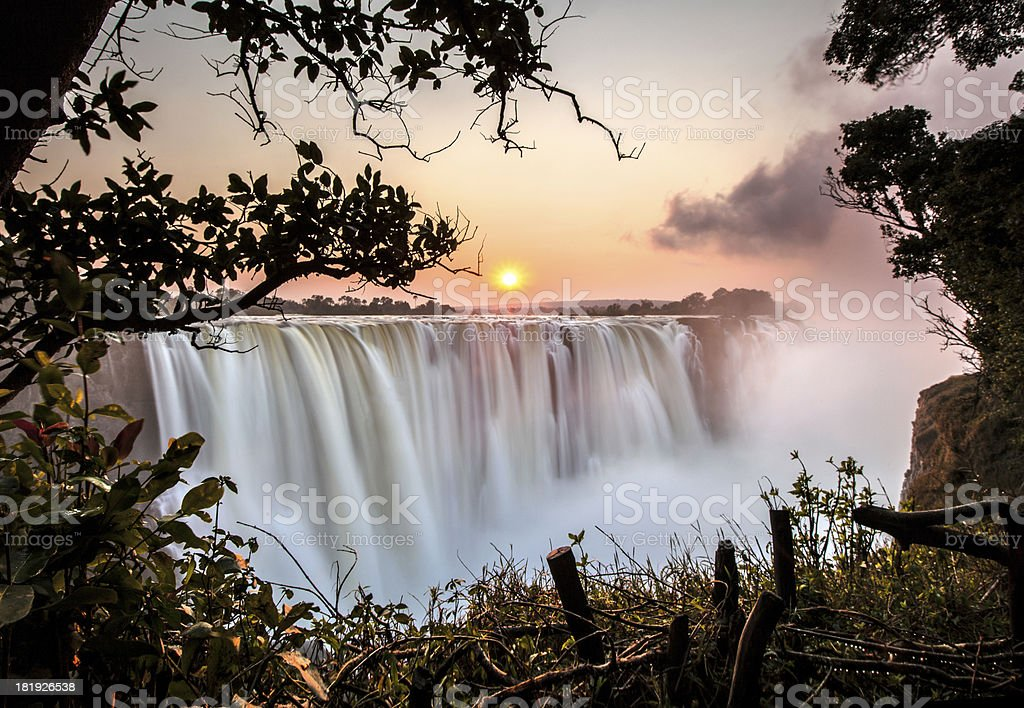 Victoria Falls Sunrise stock photo