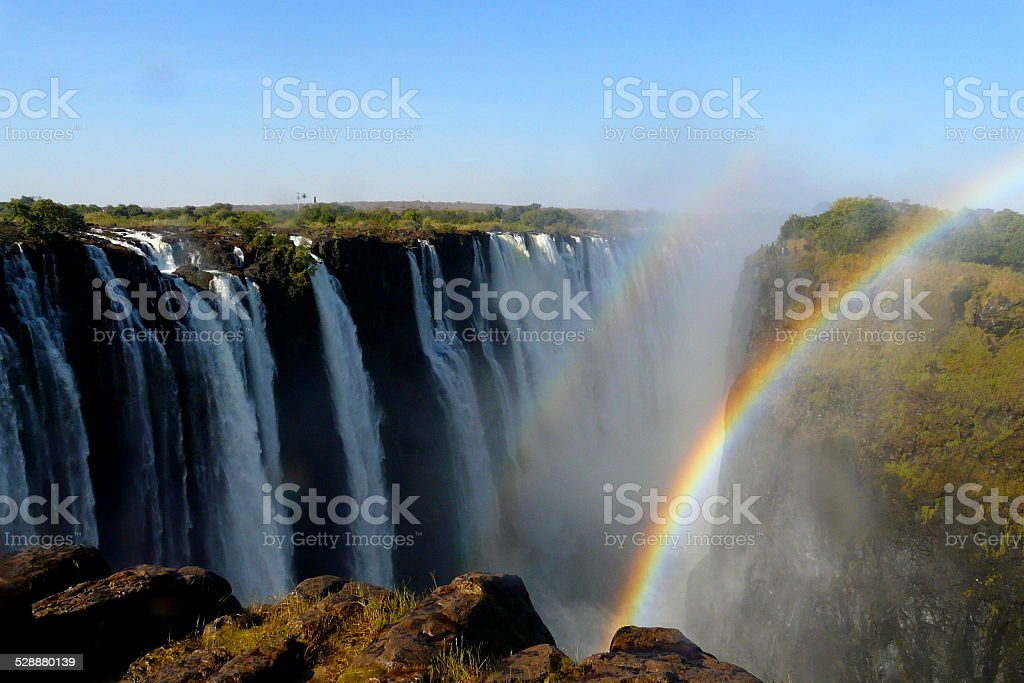 Victoria Falls view from Zimbabwe's border stock photo