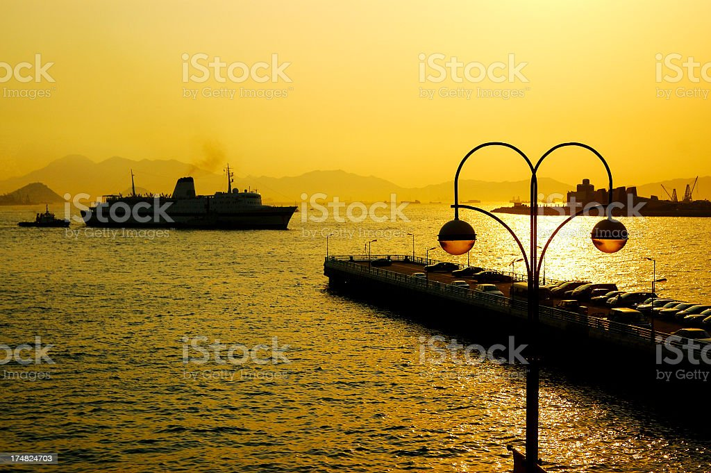 victoria habour at dusk royalty-free stock photo