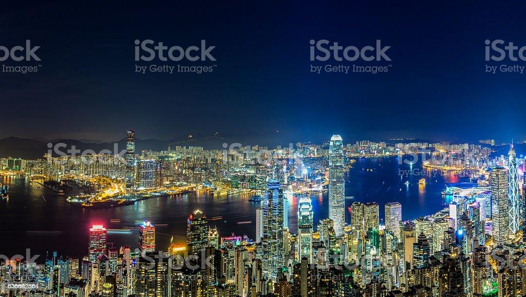 Victoria Harbor at Night (Panorama) stock photo