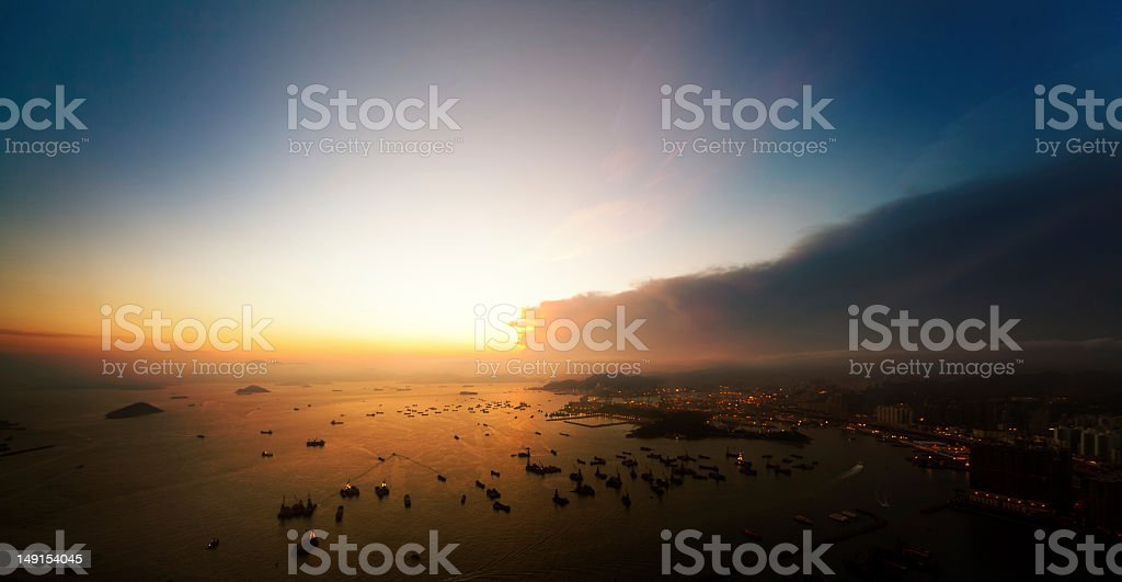 Victoria Harbor at Sunset stock photo