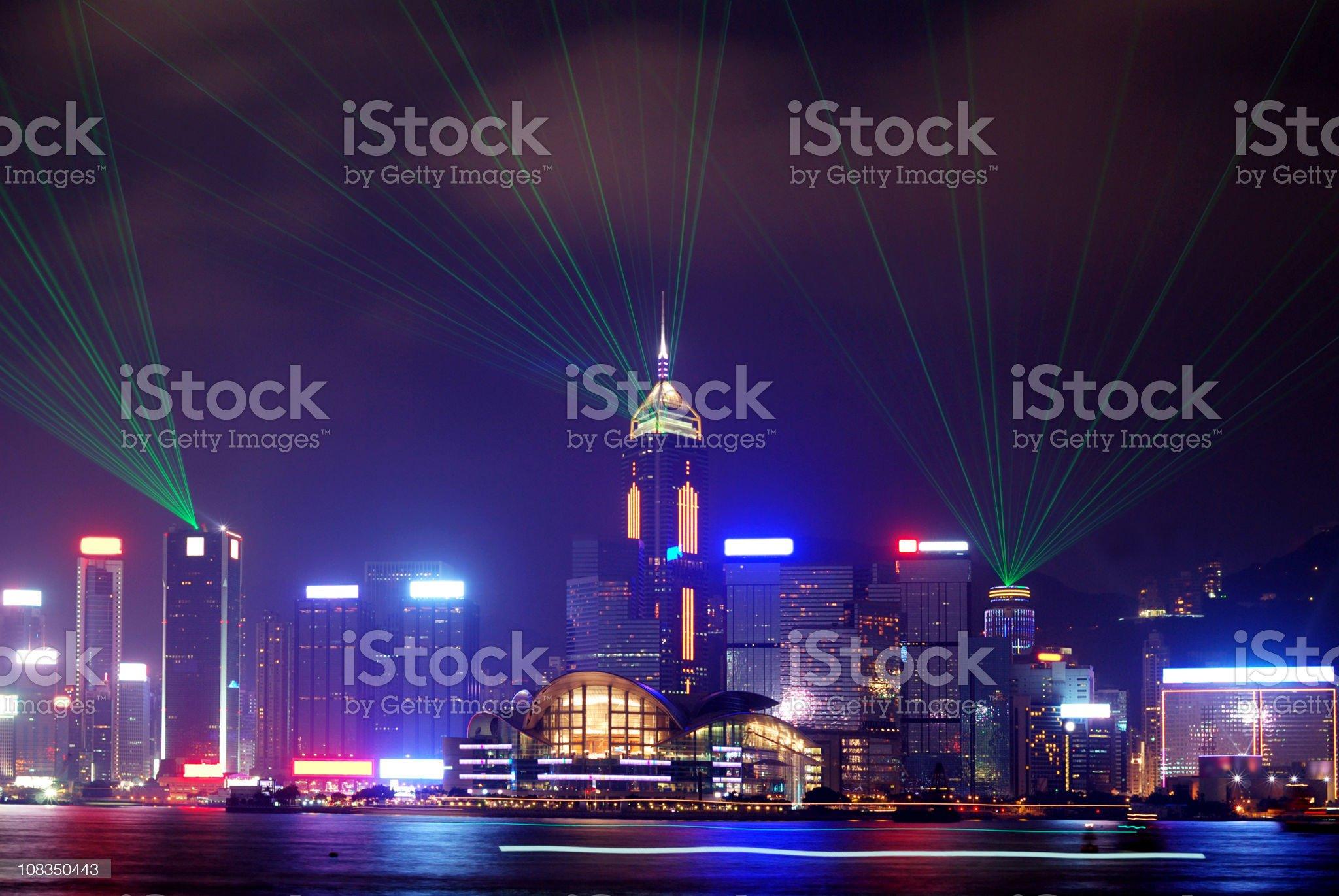 Victoria Harbor Hong Kong at Night royalty-free stock photo
