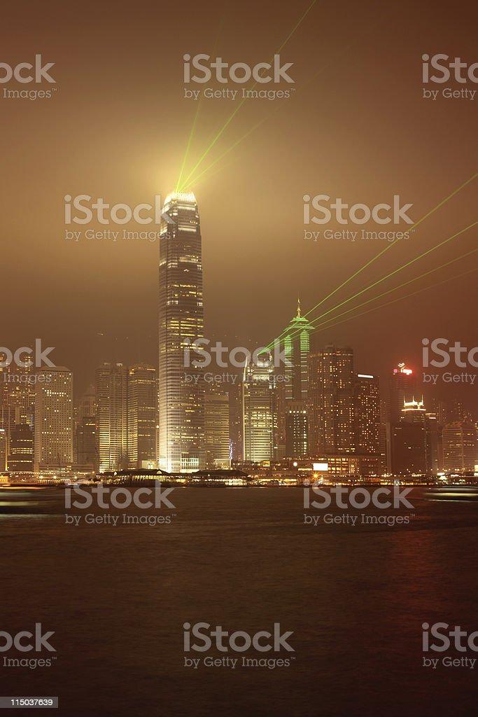 Victoria Harbor Hong Kong at Night stock photo