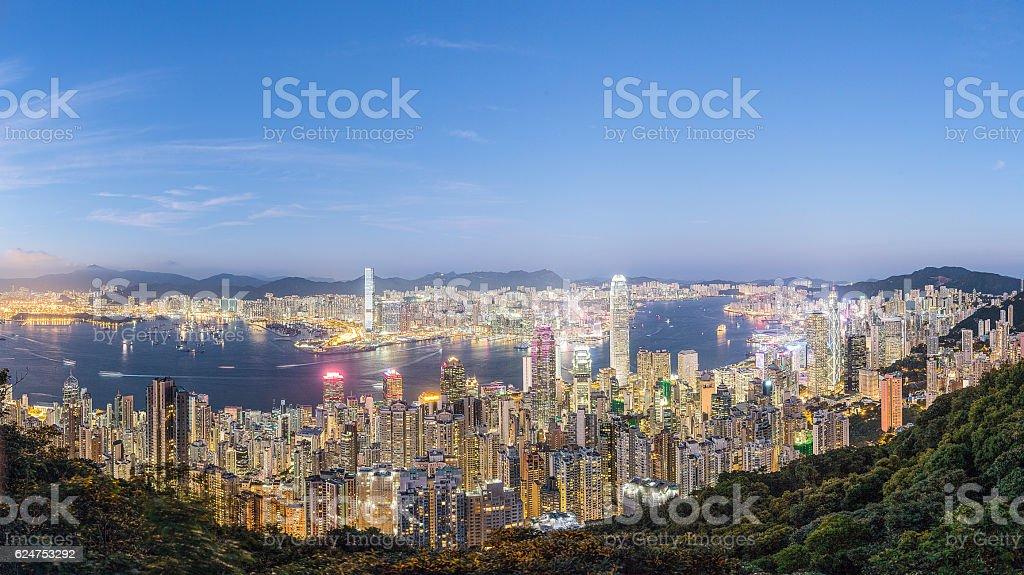 HK Victoria Harbor Panorama stock photo