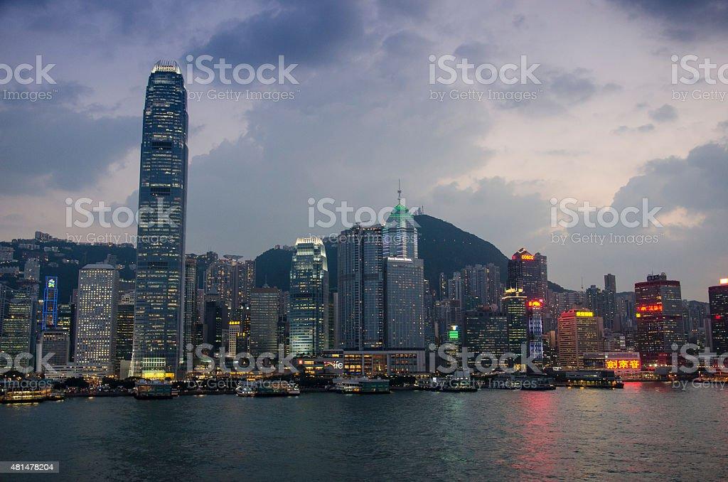 Victoria Harbour and Hong Kong Island at Dusk stock photo