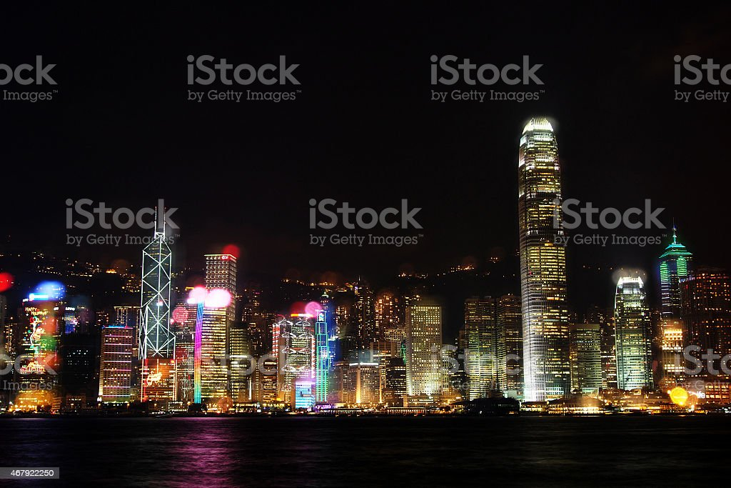 Victoria Harbour at night stock photo