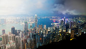 Victoria Harbour in Hong Kong from day to night