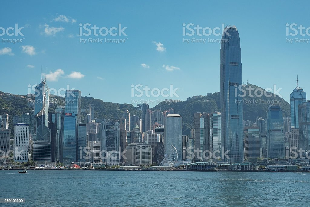 Victoria Harbour in Hong Kong stock photo