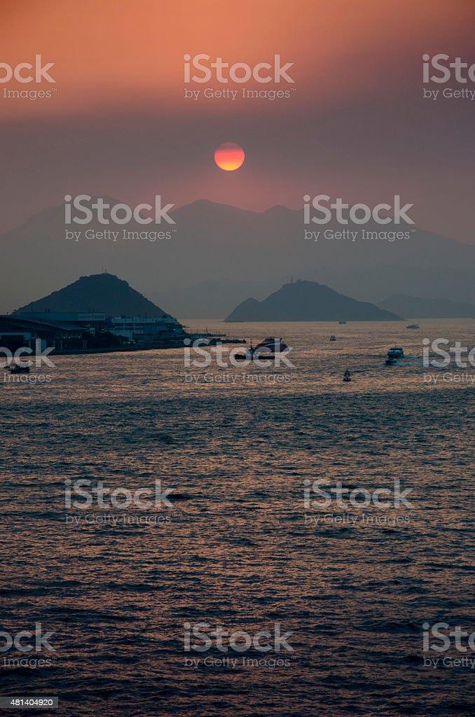 Victoria Harbour Sunset Hong Kong stock photo