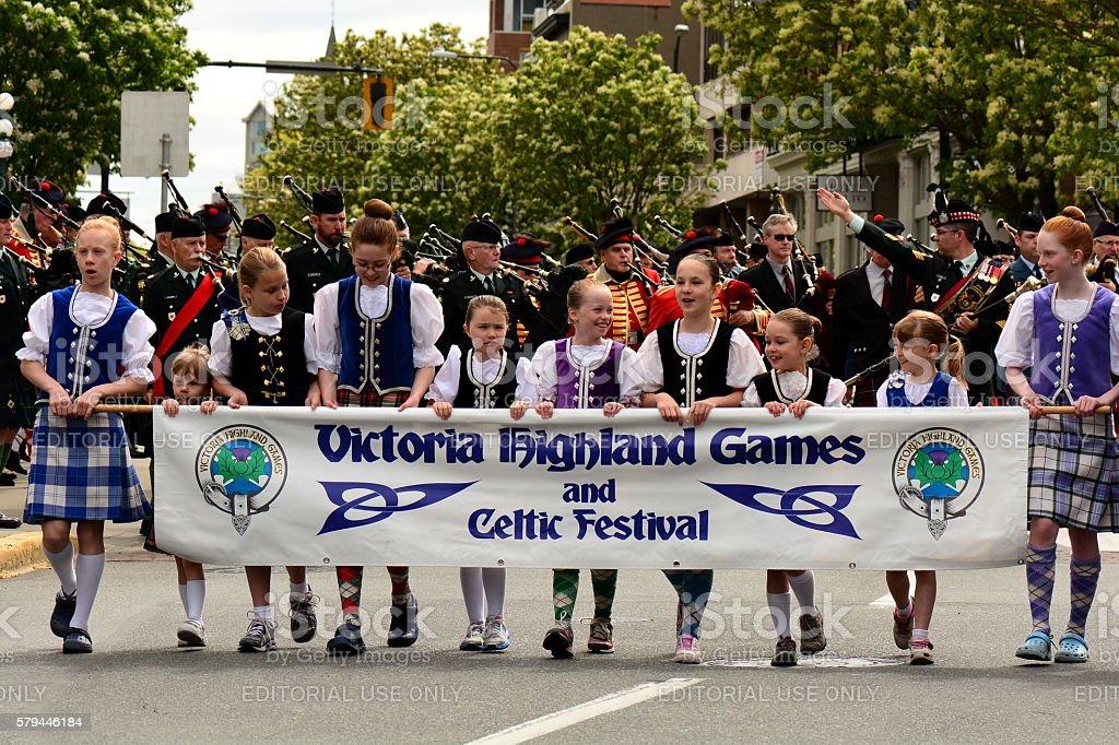 Victoria Highland Games parade stock photo