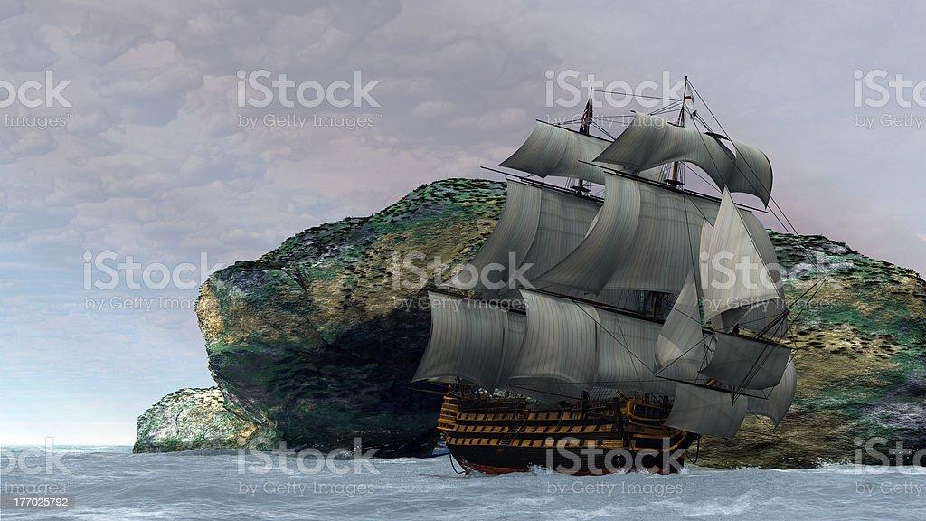 H.M.S. Victoria in full sail stock photo