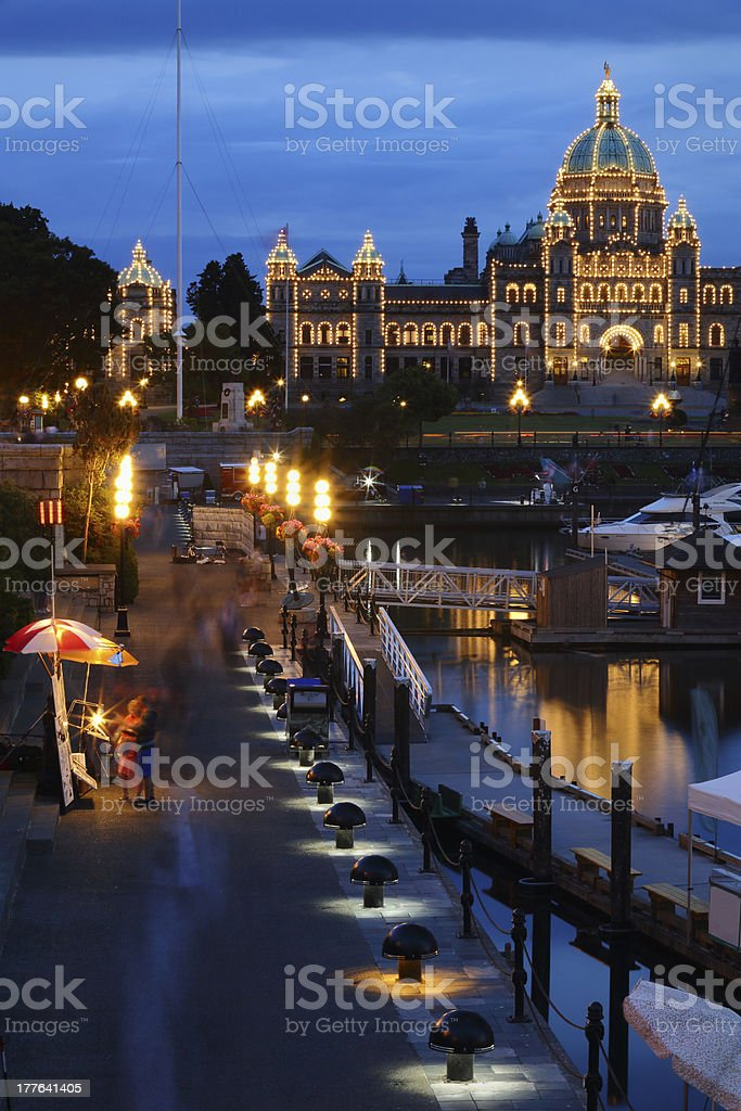 Victoria Inner Harbor Causeway Night royalty-free stock photo