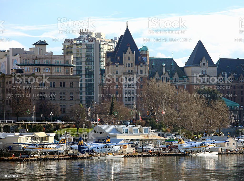 Victoria Inner Harbour With Sea Planes And Empress Hotel stock photo