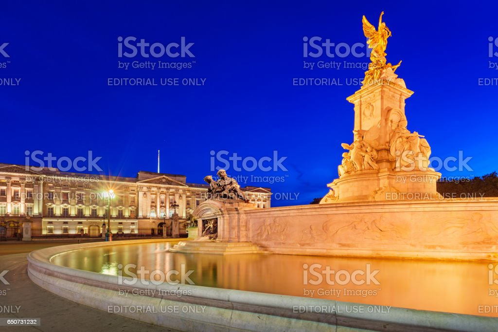 Victoria Memorial and the Buckingham Palace in London England UK stock photo