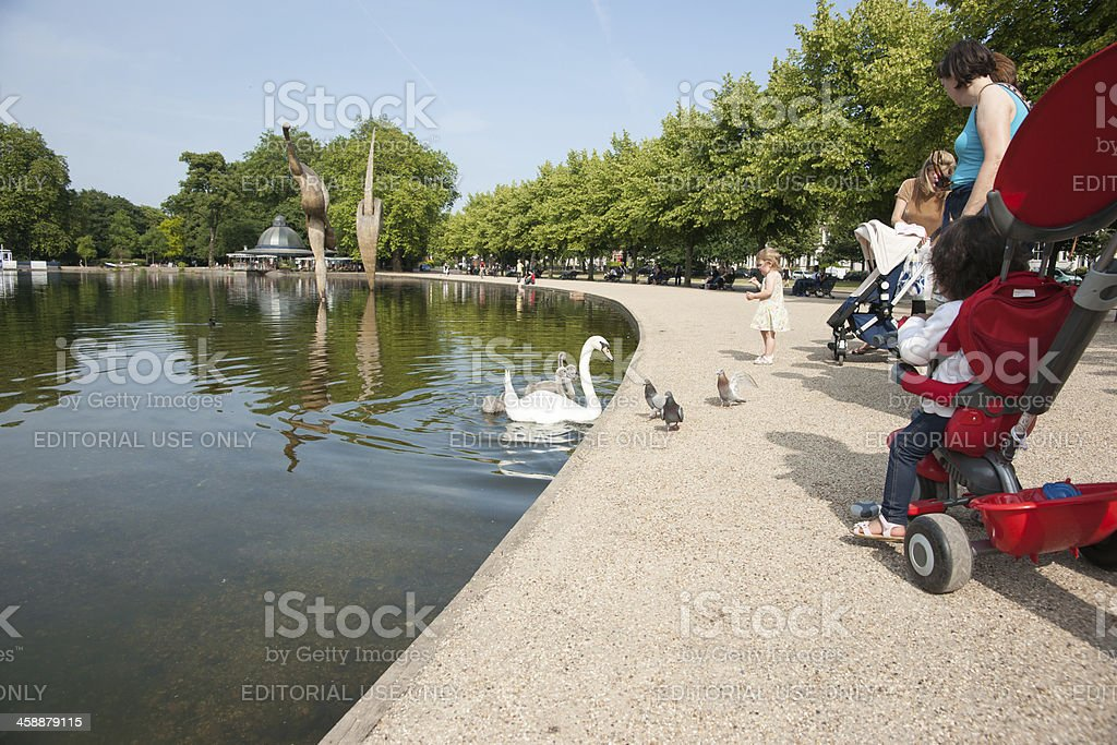 Victoria Park people, families relax and watch the birds. stock photo