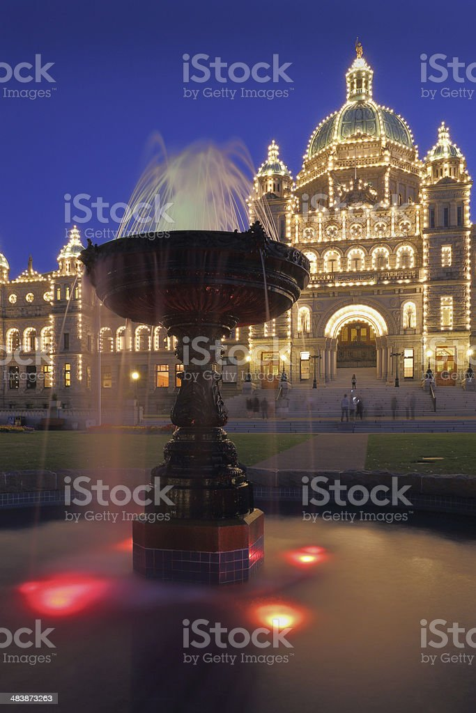 Victoria, Parliament Building Night royalty-free stock photo