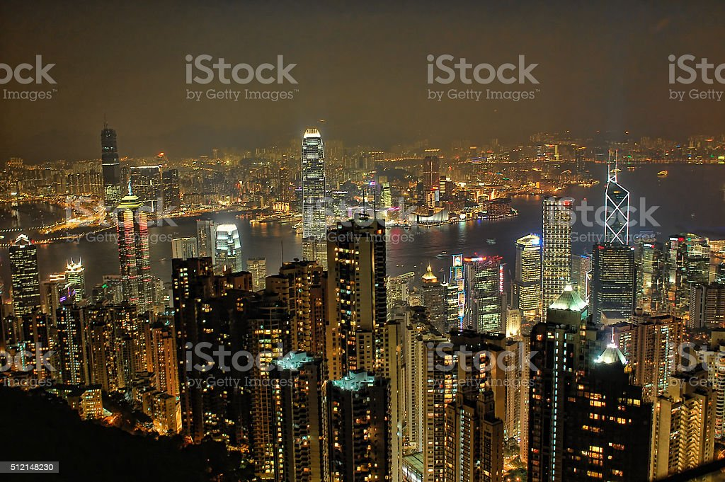 Victoria Peak Hong Kong Night View stock photo