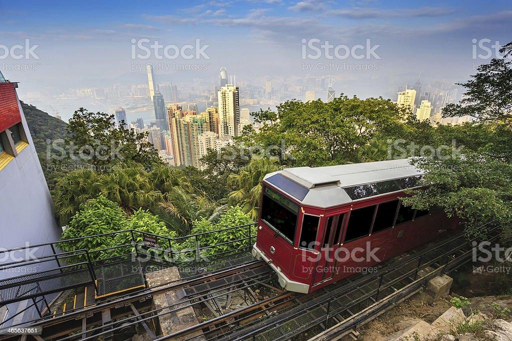 Victoria Peak Tram and Hong Kong city skyline stock photo