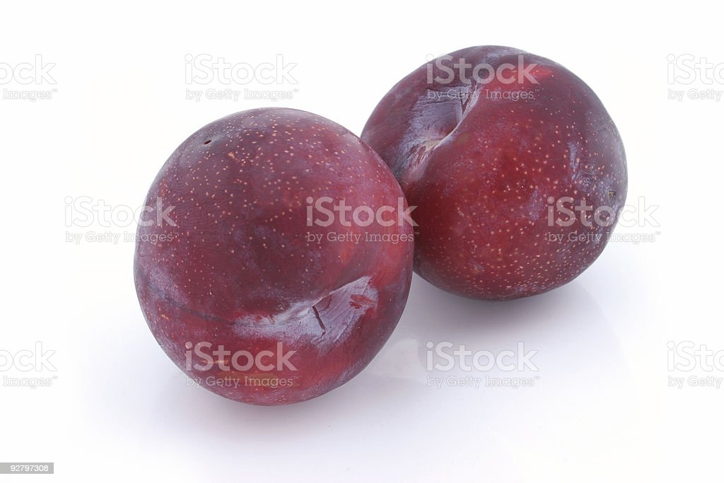 Victoria plums on a white studio background. royalty-free stock photo