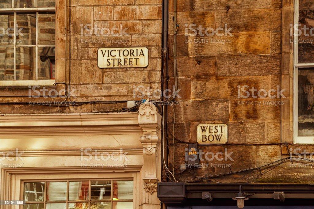 Victoria Street junction in Edinburgh stock photo