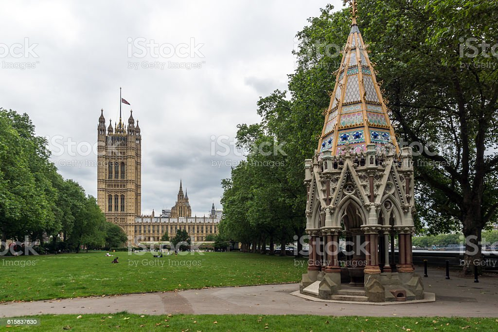 Victoria Tower Gardens and Houses of Parliament, London, England stock photo