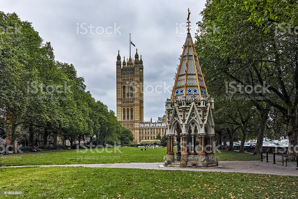 Victoria Tower Gardens and Houses of Parliament, London, United Kingdom stock photo
