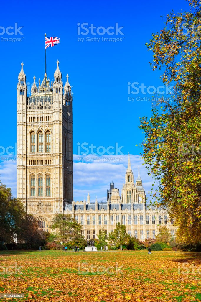 Victoria Tower Gardens and Victoria Tower of  Westminster Palace in London England UK stock photo