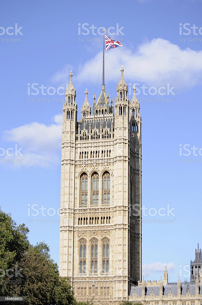 Victoria tower, Houses of Parliament in London royalty-free stock photo