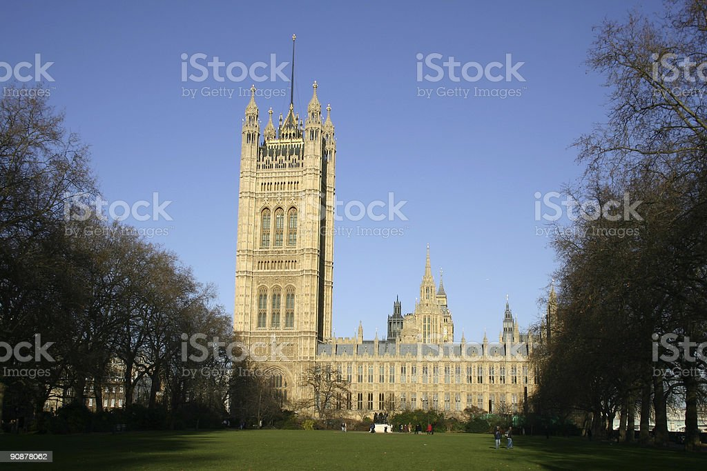 Victoria Tower in Houses of Parliament, London stock photo