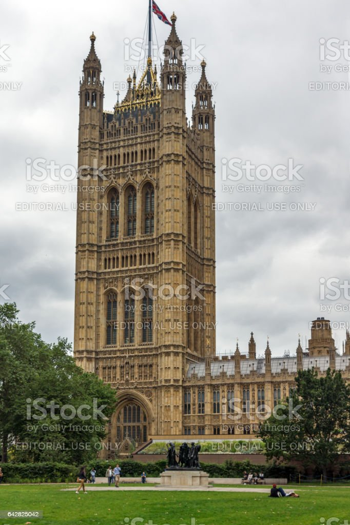 LONDON, ENGLAND - JUNE 19 2016: Victoria Tower in Houses of Parliament, Palace of Westminster,  London, England stock photo