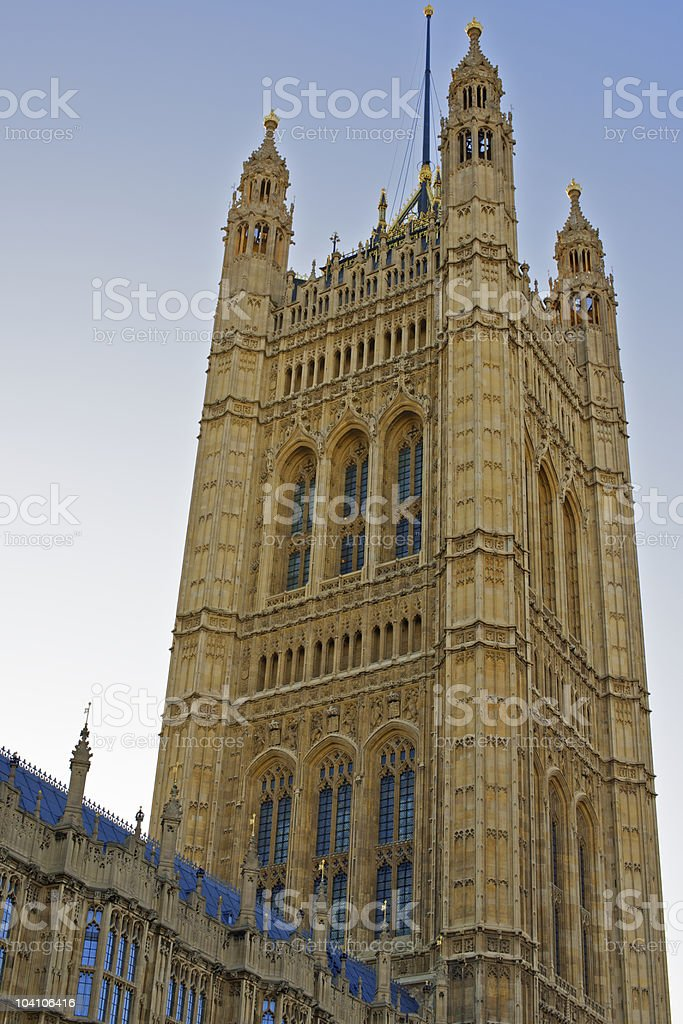 Victoria Tower of the Palace of Westminster in London royalty-free stock photo