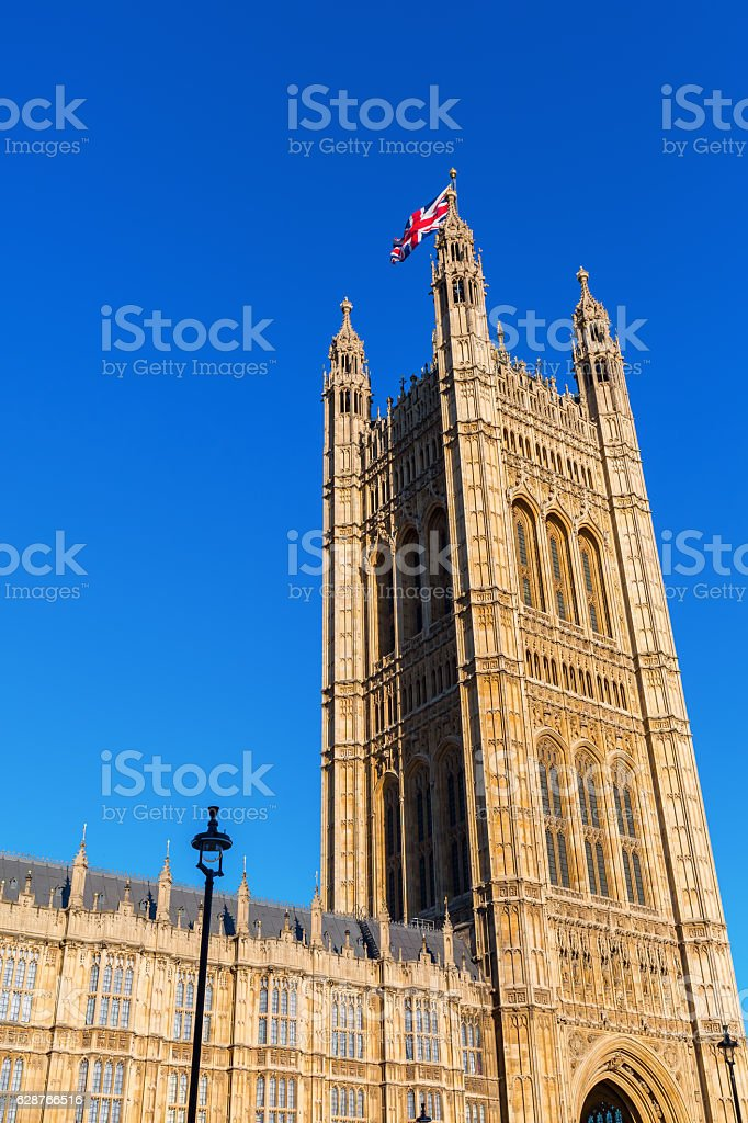 Victoria Tower of the Palace of Westminster in London, UK stock photo