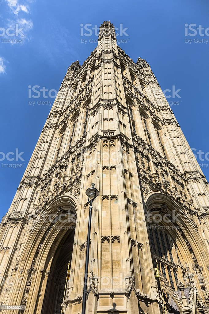 Victoria Tower Stands Tall at British House of Parliament royalty-free stock photo