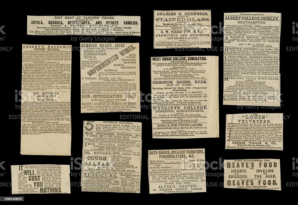Victorian advertisements from 1887 royalty-free stock photo