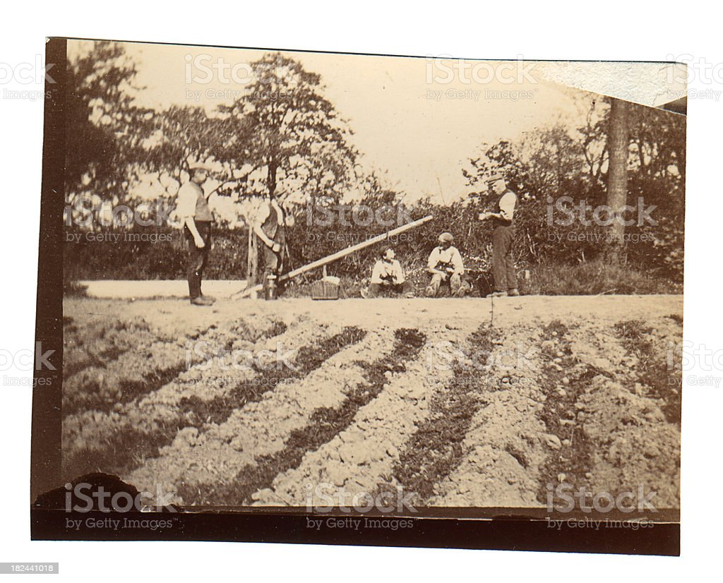 Victorian agricultural labourers - Old Photograph stock photo