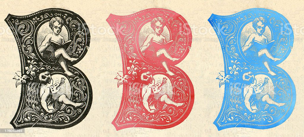 Victorian B letter set royalty-free stock photo