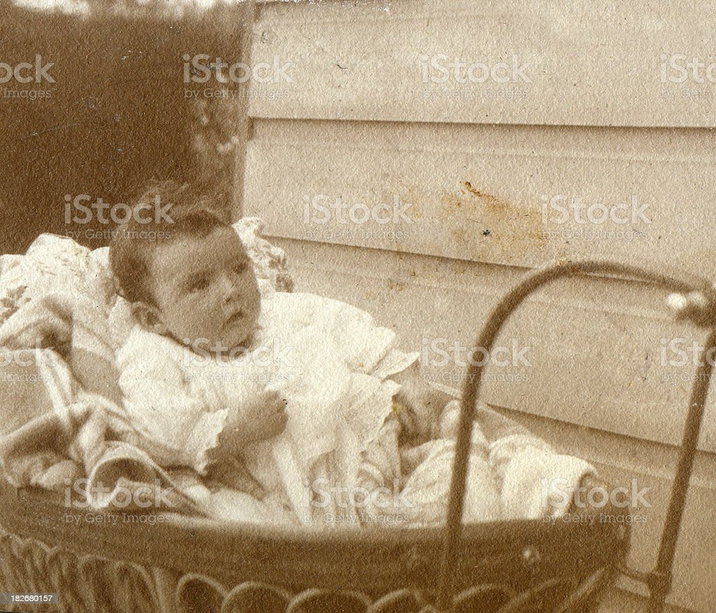 Victorian baby in pushcahir royalty-free stock photo