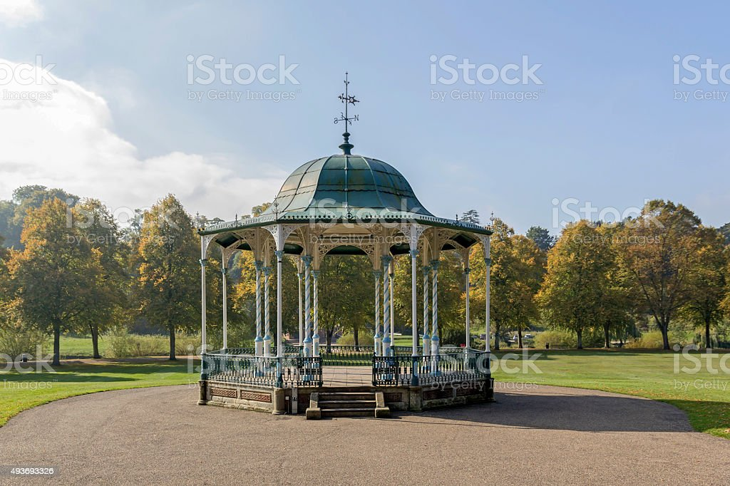 Victorian Bandstand in Quarry Park, Shrewsbury stock photo