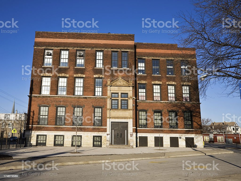 Victorian Brick School South Chicago stock photo