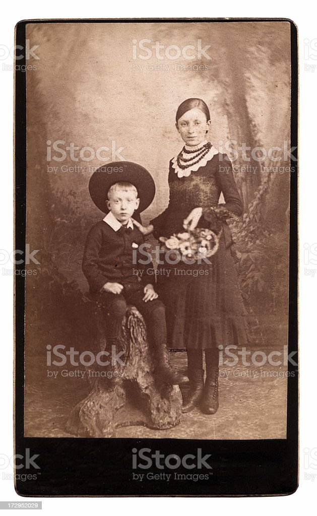 Victorian brother and sister royalty-free stock photo