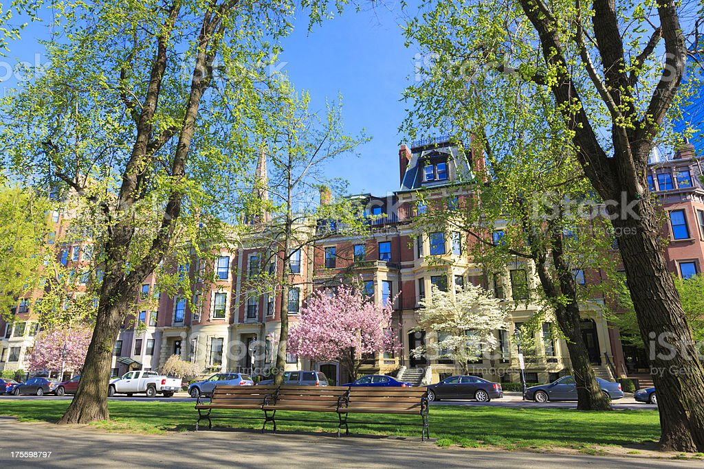 Victorian brownstone townhouses on Common Ave in Boston, MA stock photo