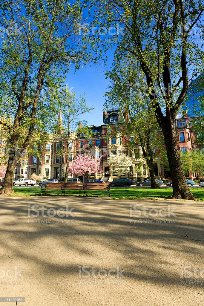 Victorian brownstone townhouses on Common Ave in Boston, MA royalty-free stock photo