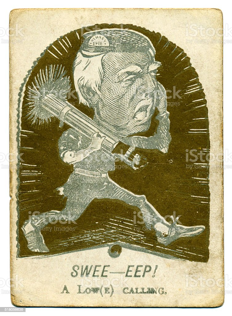 Victorian caricature Sweep soldier playing card 1880s stock photo