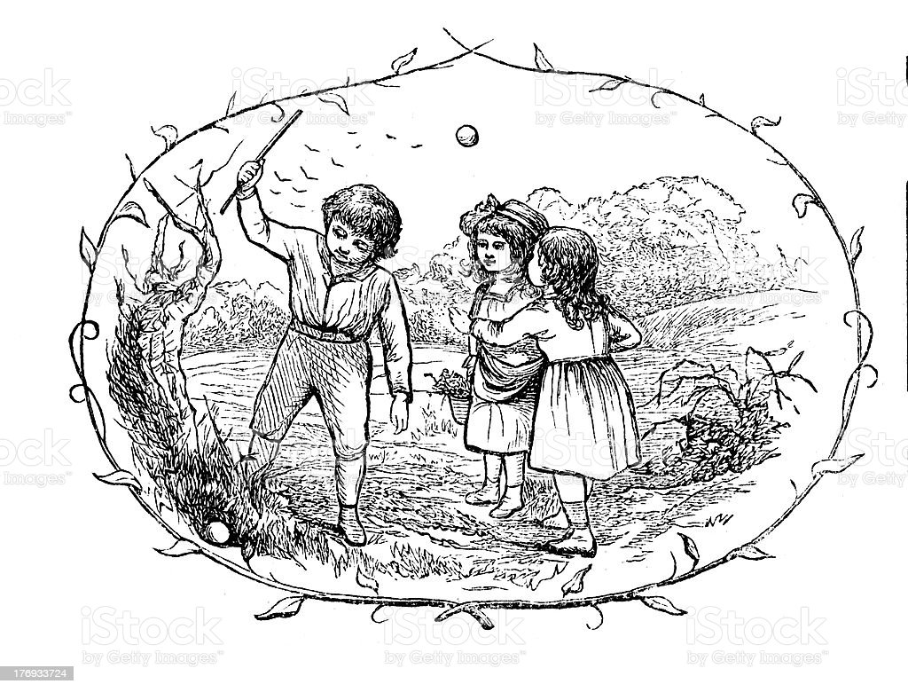 Victorian children playing with stick and ball  from 1880 journal royalty-free stock photo