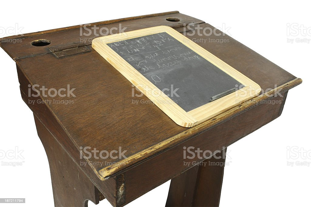 Victorian childrens desk with slate isolated royalty-free stock photo