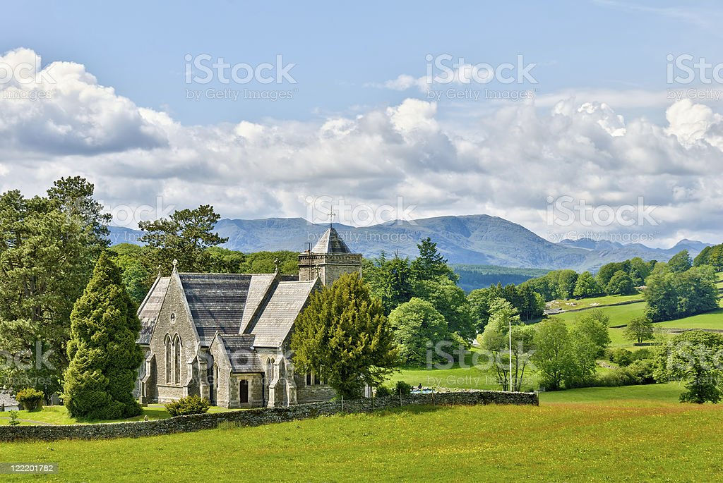 Victorian church in rural setting royalty-free stock photo