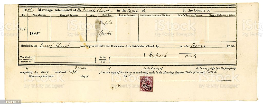 Victorian Church of England marriage certificate royalty-free stock photo
